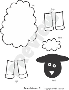 Sheep craft template cut and paste by km classroom tpt for Lamb cut out template