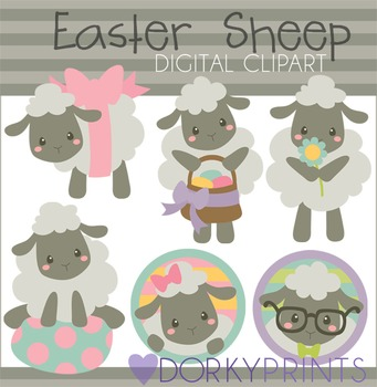 Easter Sheep Digital Clip Art