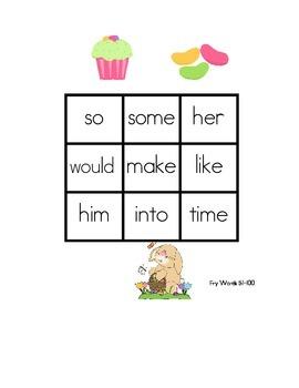 Easter Sight Word Bingo