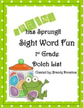 Spring Sight Word Game- 1st Grade Dolch List
