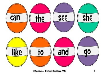 Easter Sight Word Game McGraw-Hill Wonders kindergarten sight words.