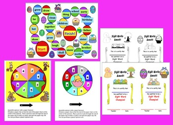 Easter Activities:  Sight Words Level 2