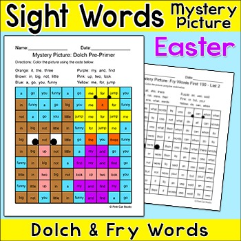 Easter Activities Color by Sight Words Mystery Picture - Bunny and Chick