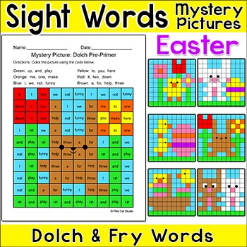 Easter Activities Sight Words Mystery Pictures Bundle