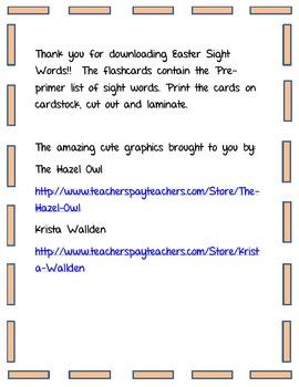 Easter Sight Words PrePrimer List