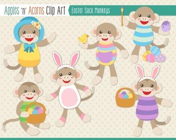 Easter Sock Monkeys Clip Art - color and outlines