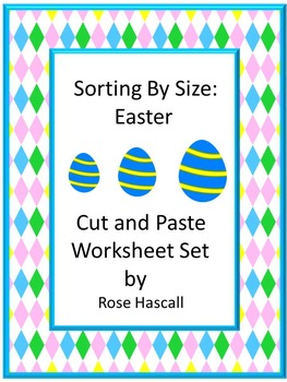 sorting by size easter cut and paste kindergarten math worksheets