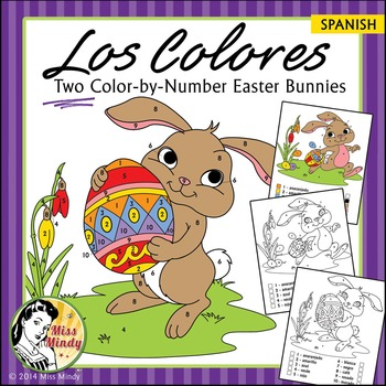 Spanish - Easter Spanish Colors Color by Number Easter Bun