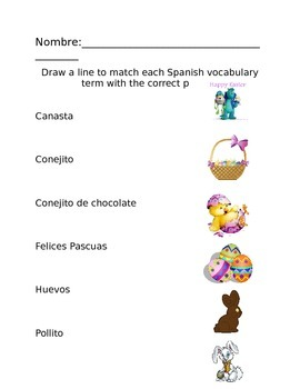 Spanish Easter/Pascua Vocab Coloring Pages, Word Search, Scramble & More