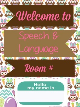 Easter Speech Therapy Room Sign