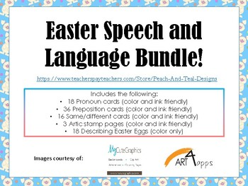 Easter Speech and Language Bundle!  Pronouns, Prepositions, and more!