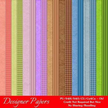 Easter Splash 3 A4 size Digital Papers (Stripes/Gingham)