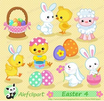 Easter Spring 4.Digital clip art.Instant Download.