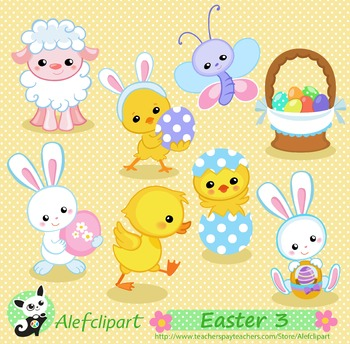 Easter Spring Bunny, lamb, duck, chicks. Digital clipart . Instant Download