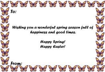 Easter/ Spring Cards: Notes from the Teacher