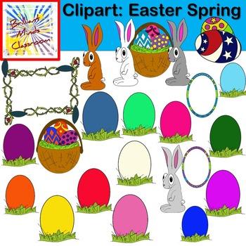 Easter - Spring Clipart - 32 Graphics - Bunny, Egg, Frame, Basket Eggs