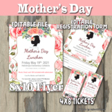 Mother's Day Event Flyer and Tickets - Editable PTA, PTO,