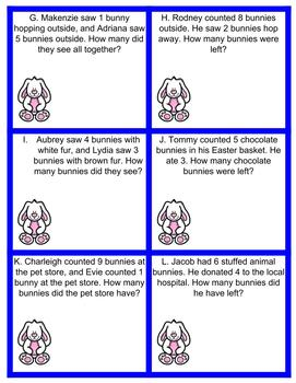 Easter/Spring Math Story Problems: Adding and Subtracting With In 10