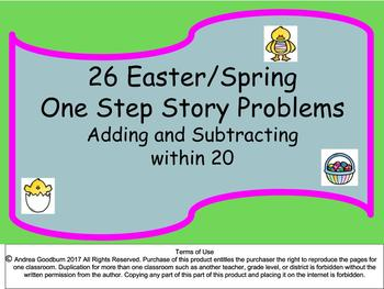 Easter/Spring Math Story Problems: Adding and Subtracting With In 20
