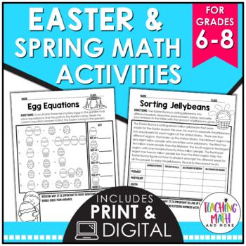easter spring middle school math activities by kelly mccown tpt