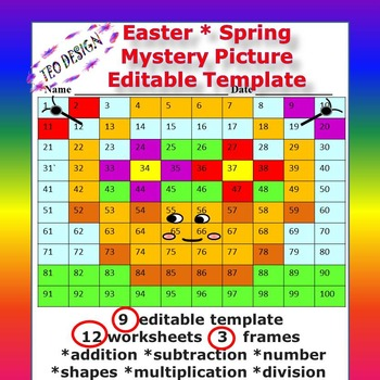 Spring Activities Math  Mystery Picture Editable templates