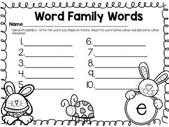 Easter & Spring Word Family Centers {CVC}