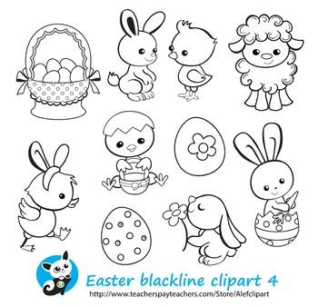 Easter Spring Сoloring 4 Blackline version Digital clipart