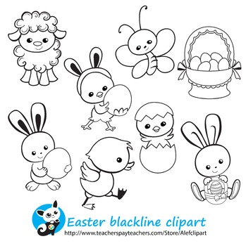 Easter Spring Сoloring Pages Blackline version Digital clipart  Instant Download