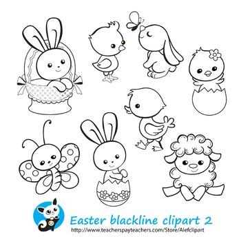 Easter Spring Сoloring 2 Blackline version Digital clipart Instant Download