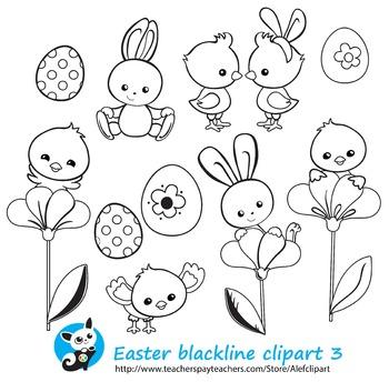 Easter Spring Сoloring 3  Blackline version Digital clipart Instant Download