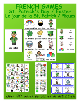 "Easter / St. Patrick's Day ""Combo"" FRENCH Workbook & Games - with SmartNotebook!"