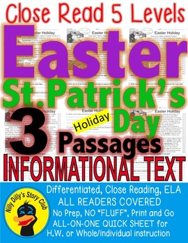 Easter & St. Patrick's Day FACTS 3 Passages 5 Levels Close Read PRINT-N-GO