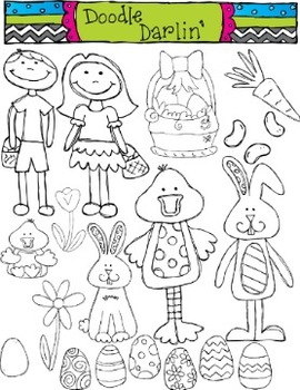 Easter Stamps Clipart Set