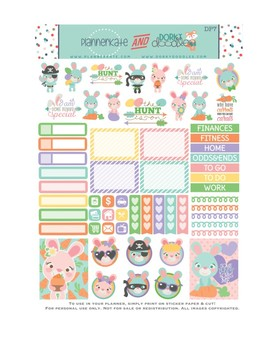 Easter Stickers Planner Printable - Easter Bunny Printable Stickers