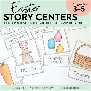 Easter Story Card Centers | Easter Writing Activities | Writing Center (Secular)