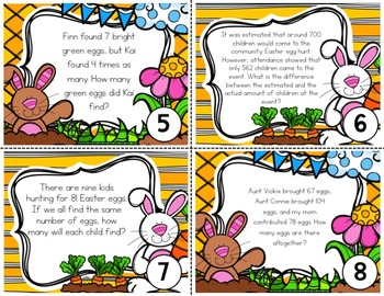 FREEBIE! Easter Story Problems for 3rd Grade Math