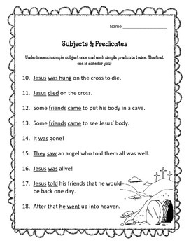 Easter Story Subjects and Predicates Worksheets