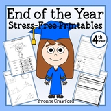 End of the Year NO PREP Printables - Fourth Grade Distance Learning