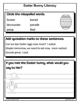 Easter NO PREP Printables - Third Grade Common Core