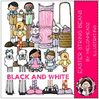 Melonheadz: Easter clip art - String Beans - BLACK AND WHITE
