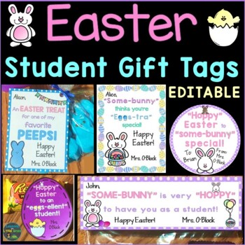 Easter Student Gift Tags - 8 EDITABLE Designs