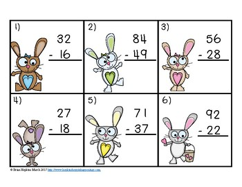 Easter Subtraction 2 Digit Regrouping Task Cards