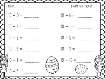 Easter Subtraction Center