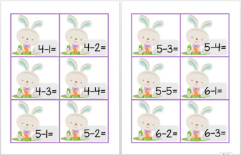 Easter Subtraction Fun - Little Math Pack (Math By Dice)