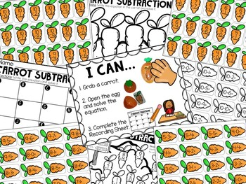 Easter Subtraction Math Center - Subtraction Facts 0-10