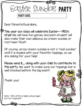 "FREEBIE Easter ""Sundae"" Class Party Letters {Bilingual}"