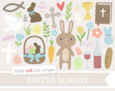 Easter Sunday Clipart; Religious, Christian, Church, Bible, Cross, Dove