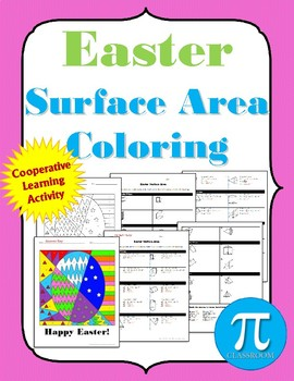 Easter Surface Area Coloring  Cooperative Learning Activity