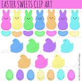 Easter Sweets Clip Art Set - Peeps, Bunnies, Chicks, Eggs,