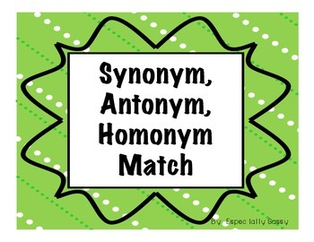 Easter Synonyms, Antonyms, Homonyms Match